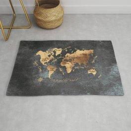 world map 147 gold black #worldmap #map Rug