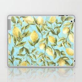 mediterranean summer lemon branches on turquoise Laptop & iPad Skin
