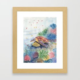 Sea Turtle and Friends Framed Art Print