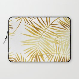 Tropical Palm Fronds in Gold Laptop Sleeve