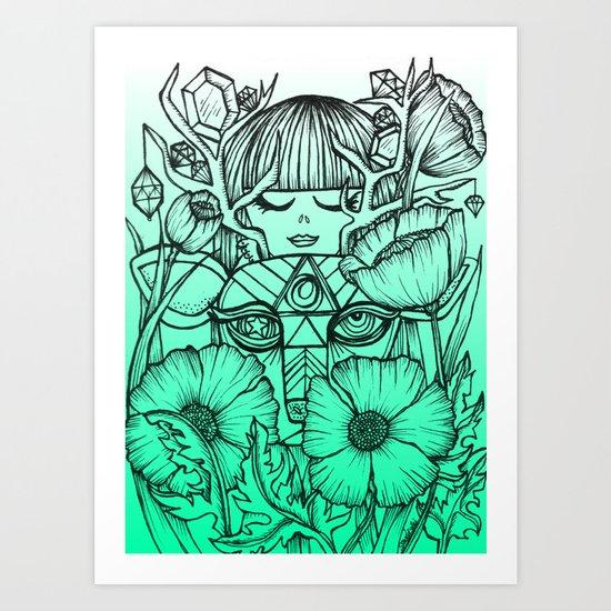 Charmed Life - Deer Girl Poppies - Mint Green Ombre Art Print