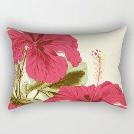 Vintage Garden (Tropical Hibiscus) Rectangular Pillow