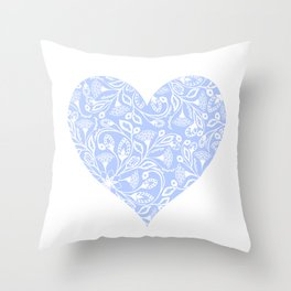 Floral Heart Design Blue and White Throw Pillow