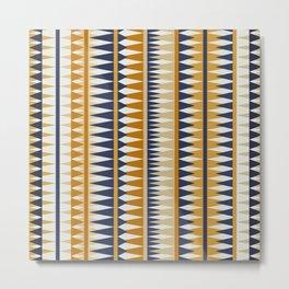 Geometrical Art, Yelllow and Blue, Boho Wall Art Metal Print