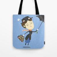 mary poppins Tote Bags featuring Mary Poppins by Rod Perich