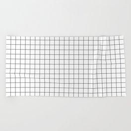 Black and White Thin Grid Graph Beach Towel