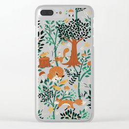 Foxes Playing in the Emerald Forest Clear iPhone Case