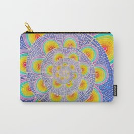 Rainbow Mandala Colorful Psychedelic Trippy Spiral Tapestry Painting Batik (Triametes Versicolor) Carry-All Pouch