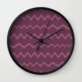 Purple Waves Wall Clock