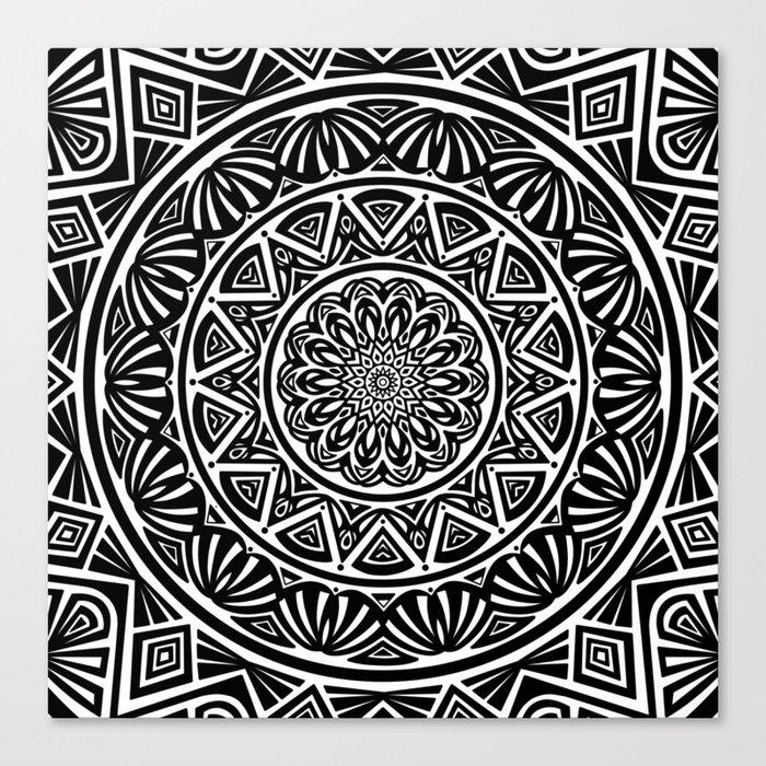Black and White Simple Simplistic Mandala Design Ethnic Tribal Pattern Canvas Print