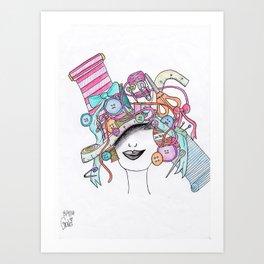 365 cabelos - sewing Art Print