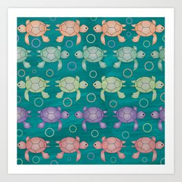 Funny Colored Turtle Patern for Kids Art Print