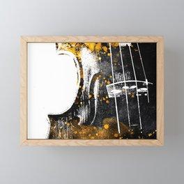 Violin music art gold and black #violin #music Framed Mini Art Print