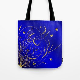 blue festive shiny metal pattern with small butterflies, Asian flowers and drops of water Tote Bag