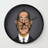 salvador dali Wall Clocks featuring Celebrity Sunday ~ Salvador Dali by rob art | illustration