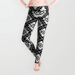 Aztec Symbol Pattern White on Black Leggings
