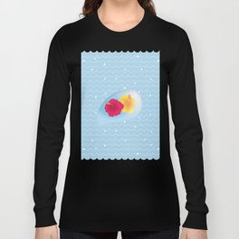 Hibiscus reflected in a drop of wave_YR Long Sleeve T-shirt