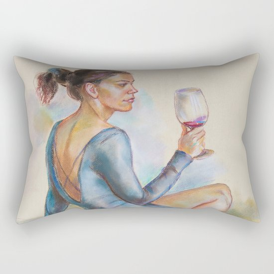 Girl with a glass of red wine Rectangular Pillow