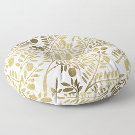 Gold Olive Branches Floor Pillow