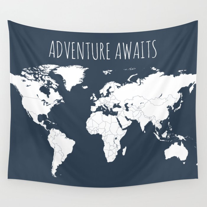 Adventure awaits world map in navy blue wall tapestry by adventure awaits world map in navy blue wall tapestry gumiabroncs Choice Image