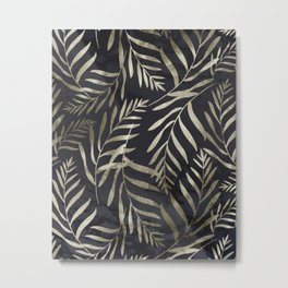 Modern Gold Leaves on Dark Marble Metal Print