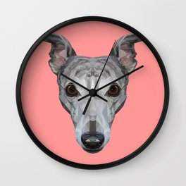 Whippet // Pink Wall Clock