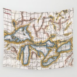 Vintage Map of The Great Lakes & Canada (1780) Wall Tapestry