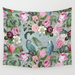 Parrots Jungle Rendevous Wall Tapestry