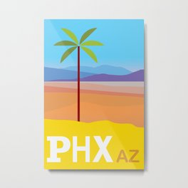 Phoenix AZ Desert Travel Poster Metal Print