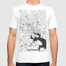 Baltimore Map Gray MEDIUM Mens Fitted Tee White