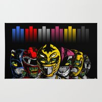 power rangers Area & Throw Rugs featuring Mighty Morphin Zombie Rangers by of the dead designs