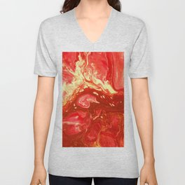 Fluid Nature - Fanning The Flames - Abstract Acrylic Artwork Unisex V-Neck