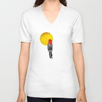 lipstick V-neck T-shirts featuring alien lipstick by sustici