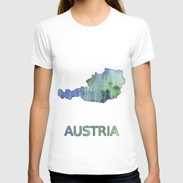Austria map outline Blue-green watercolor painting T-shirt