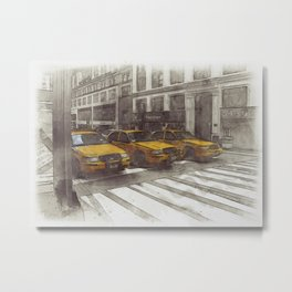 NYC Yellow Cabs Radio Shack - SKETCH Metal Print
