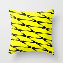 Slanting black lines and rhombuses on yellow with intersection of glare. Throw Pillow
