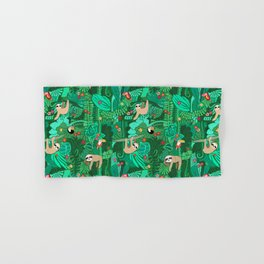 Sloths in the Emerald Jungle Pattern Hand & Bath Towel