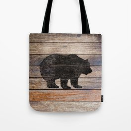 Rustic Bear Silhouette on Wood Country Art A231a Tote Bag