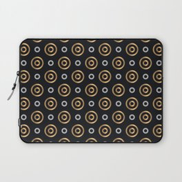 Elegant Faux Gold and Silver Circles Pattern Laptop Sleeve