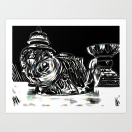 Still Life Black and White With A Touch Of Color Art Print