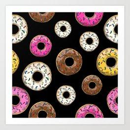 Funfetti Donuts - Black Art Print