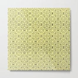 Ancient Pattern Illustration in Honey Yellow Metal Print