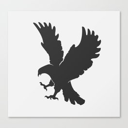 vector silhouette flying eagle on a white background Canvas Print