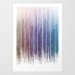 Grunge Dripping Rainbow Misty Forest Art Print
