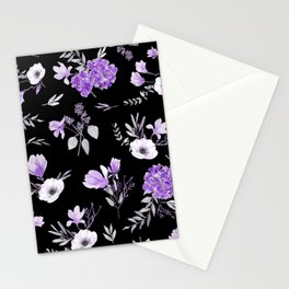 Lavender & Black Pattern Stationery Cards