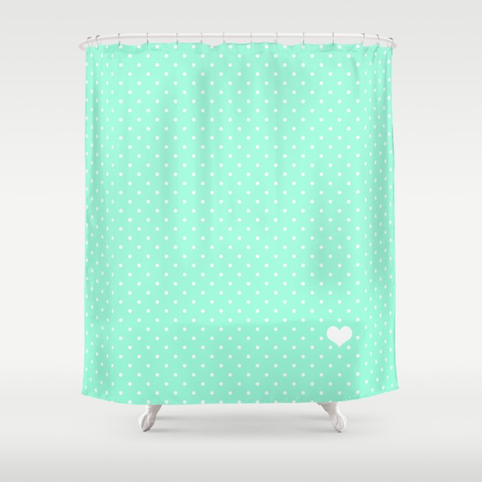 Mint Green And White Polka Dot Shower Curtain