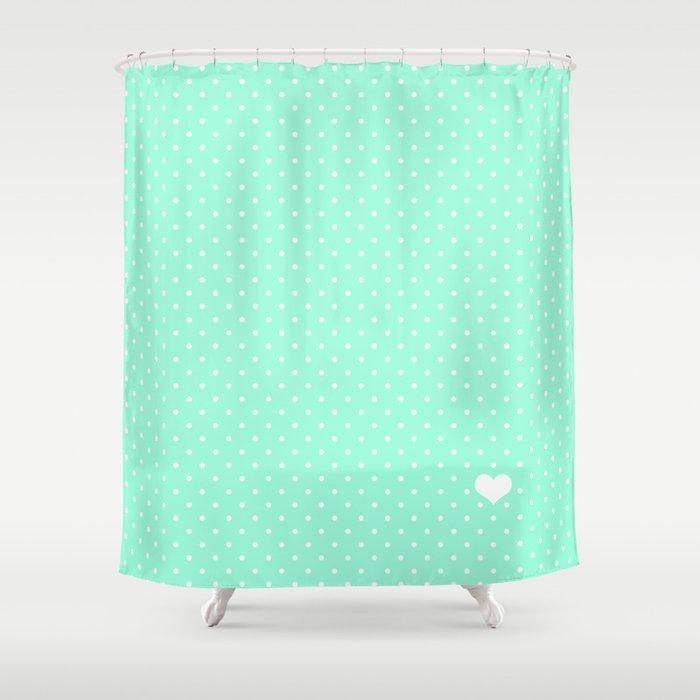 Mint Green And White Polka Dot Shower Curtain By Katmun
