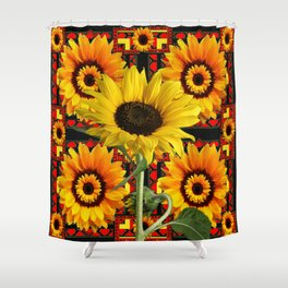 SOUTHWESTERN  BLACK COLOR YELLOW SUNFLOWERS ART Shower Curtain