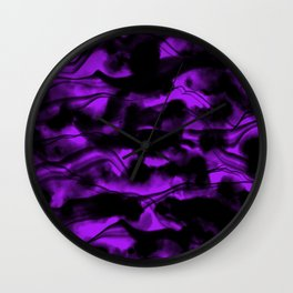 Moody Purple Fog All Over Painting Texture with Streaky Light Leaks. Trendy Abstract Dark Mood Wall Clock