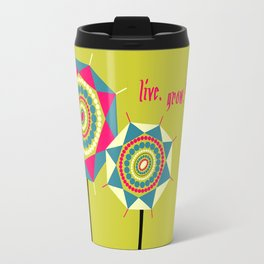 Abstract Geometric Circles and Triangles Floral Illustration Travel Mug